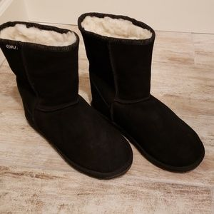 Emu Suede Boots Black 8 Wool Lining